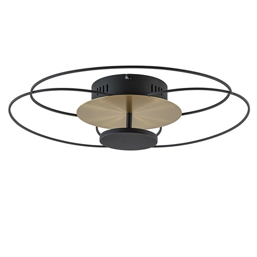 Moderne LED plafondlamp zwart/goud 3-standen dimbaar