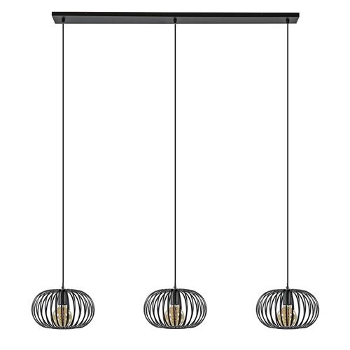 Moderne 3-lichts draad eettafelhanglamp mat zwart