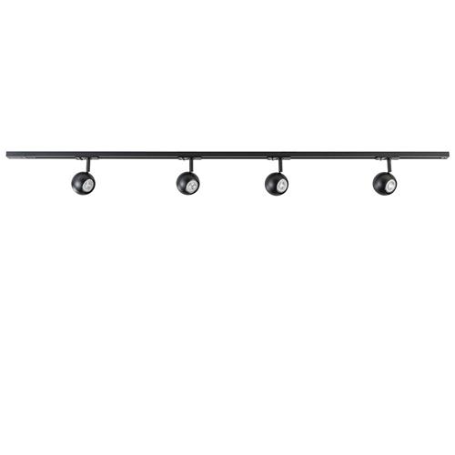 Railsysteem 1-fase zwart inclusief 4 ronde spots