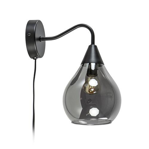 Moderne wandlamp zwart met smoke glazen kap