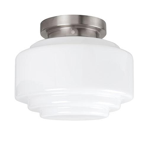 Retro plafondlamp nikkel wit gang-hal