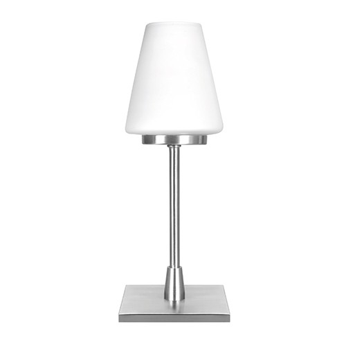 Moderne tafellamp staal/glas met dimmer