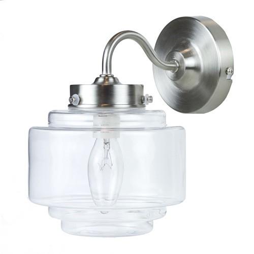 **Deco wandlamp staal met helder glas
