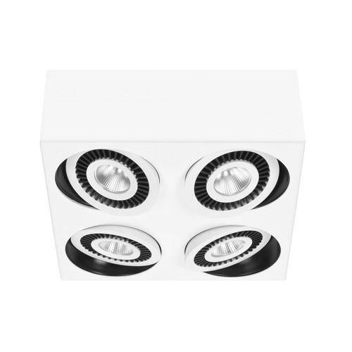 Vierkante LED plafondspot wit 4-lichts