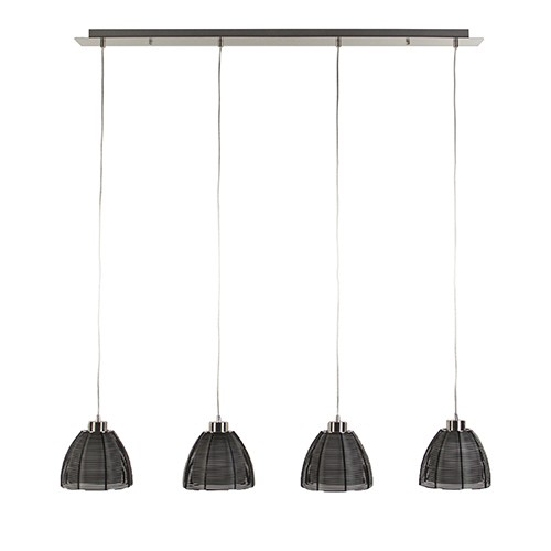 Hanglamp balk 4-lichts zwart draad/glas