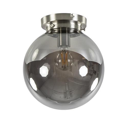Ronde plafondlamp smokey glas met nikkel
