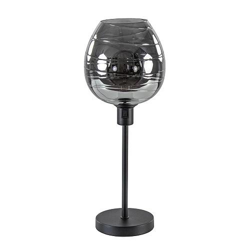Luxe tafellamp smoke glas met zwarte voet