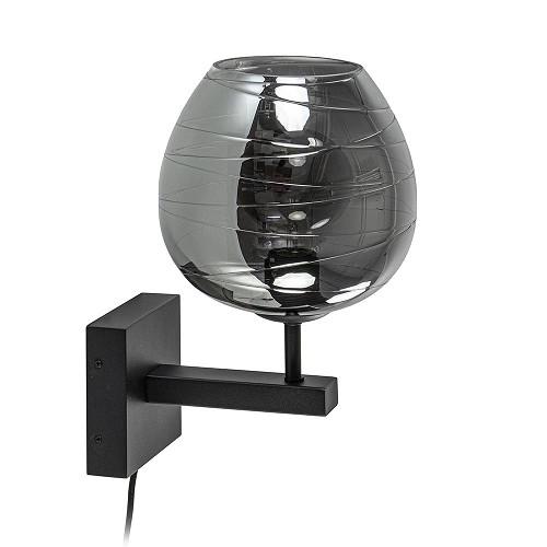 Smoke glazen wandlamp met zwart inclusief snoer