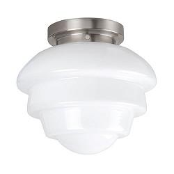 Plafondlamp nikkel wit glas, keuken-hal