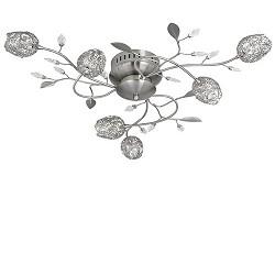 **Plafonnière Toscane bloem nikkel, glas
