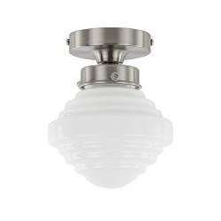 Kleine plafondlamp staal met wit glas