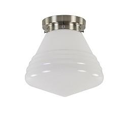 Art Deco plafondlamp staal met wit glas