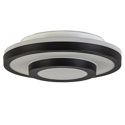 Plafondlamp zwart ringen/opaal glas ip44