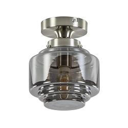 Kleine plafondlamp hal/toilet met smokey glazen kap