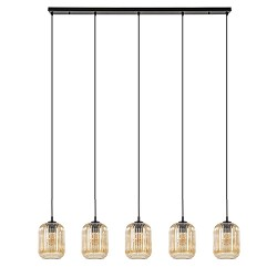 Moderne hanglamp 5-lichts amber glas met zwart