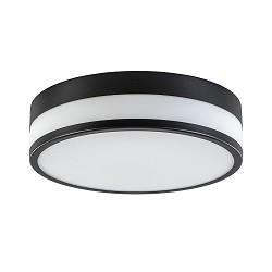 Ronde badkamer plafondlamp zwart met opaal glas