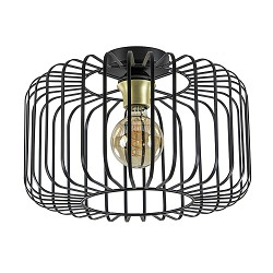 Moderne draad plafondlamp zwart met brons