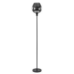 Moderne vloerlamp mat zwart met smokey glas