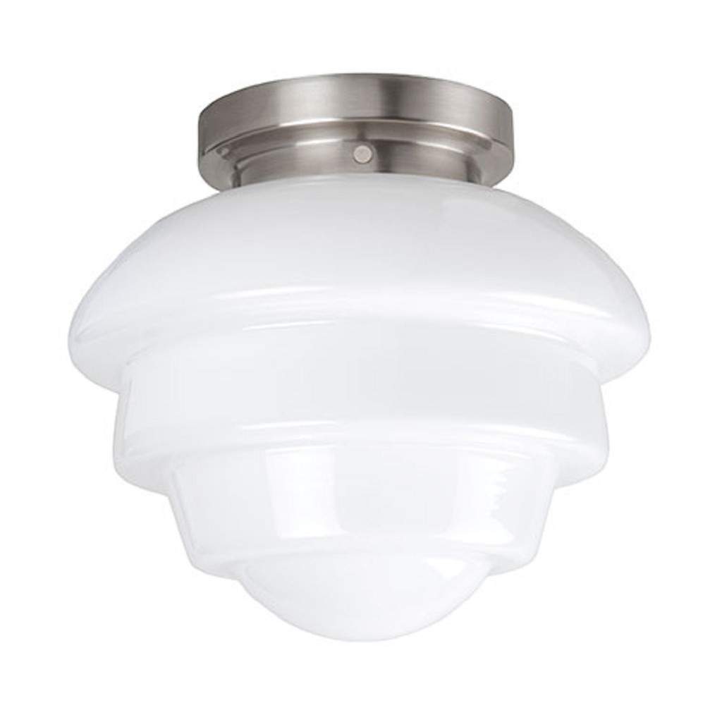 **Plafondl. nikkel wit glas, keuken-hal