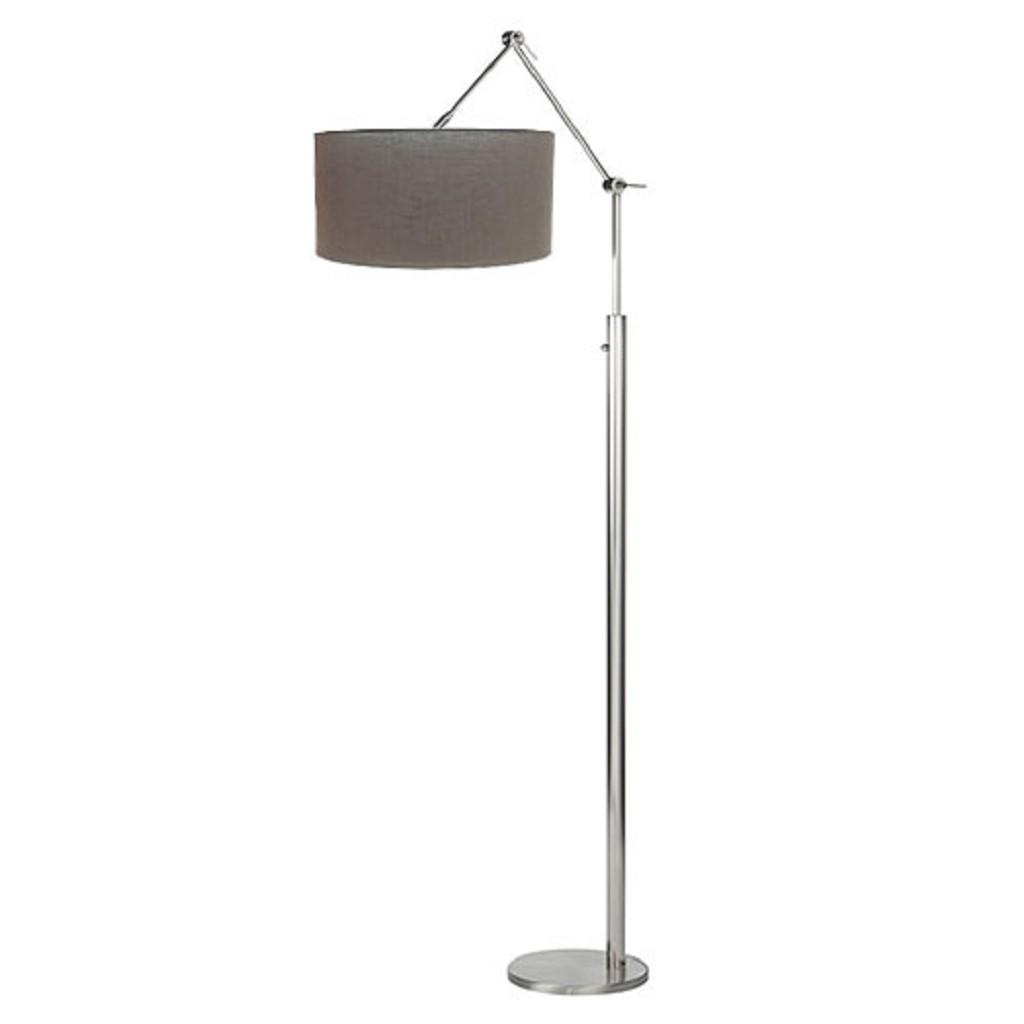 Moderne dimb. staande lamp + stof kap