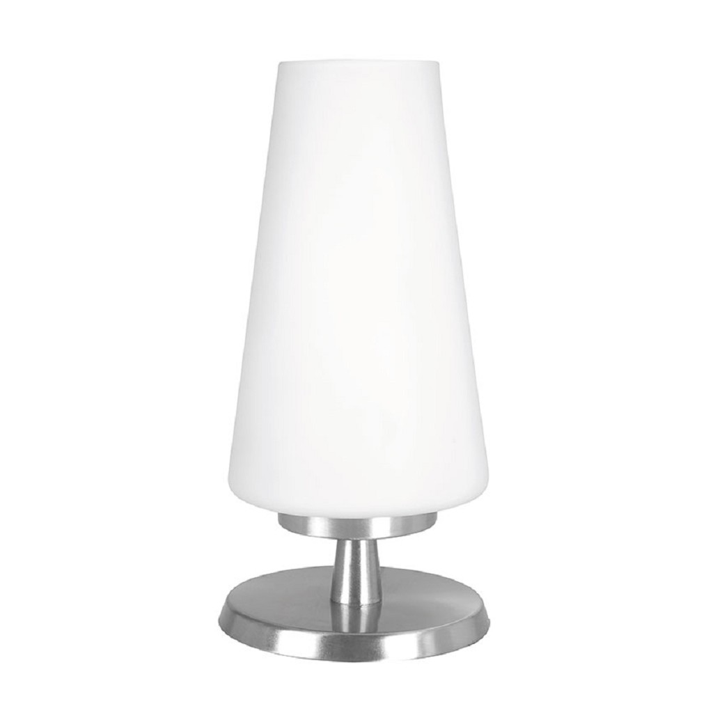 Tafellamp nikkel/glas met touchdimmer