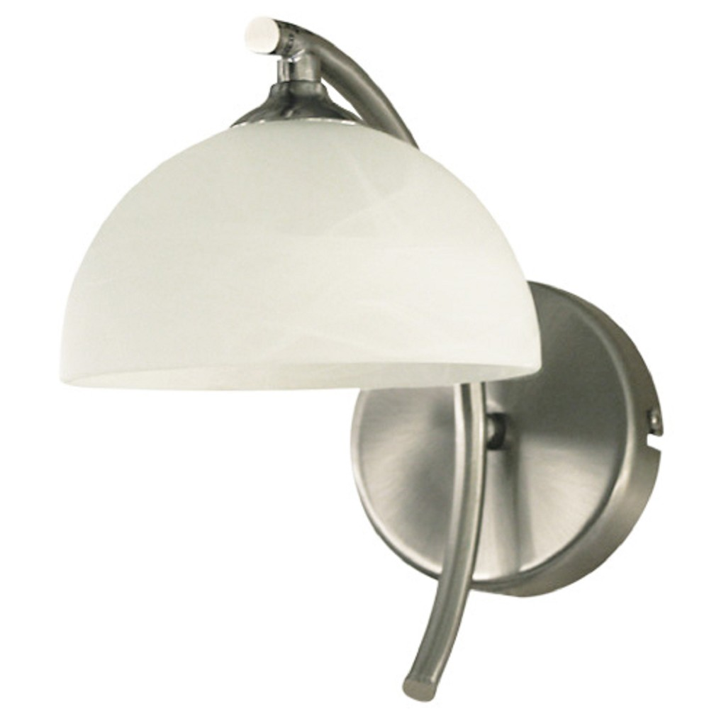 *Wandlamp staal met gewolkt glas