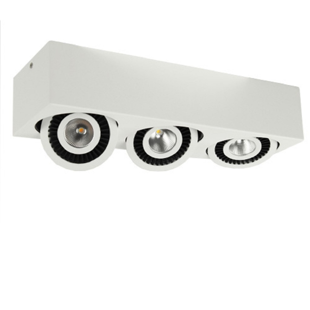 Plafondspot box 3-lichts led wit/zwart 3000k