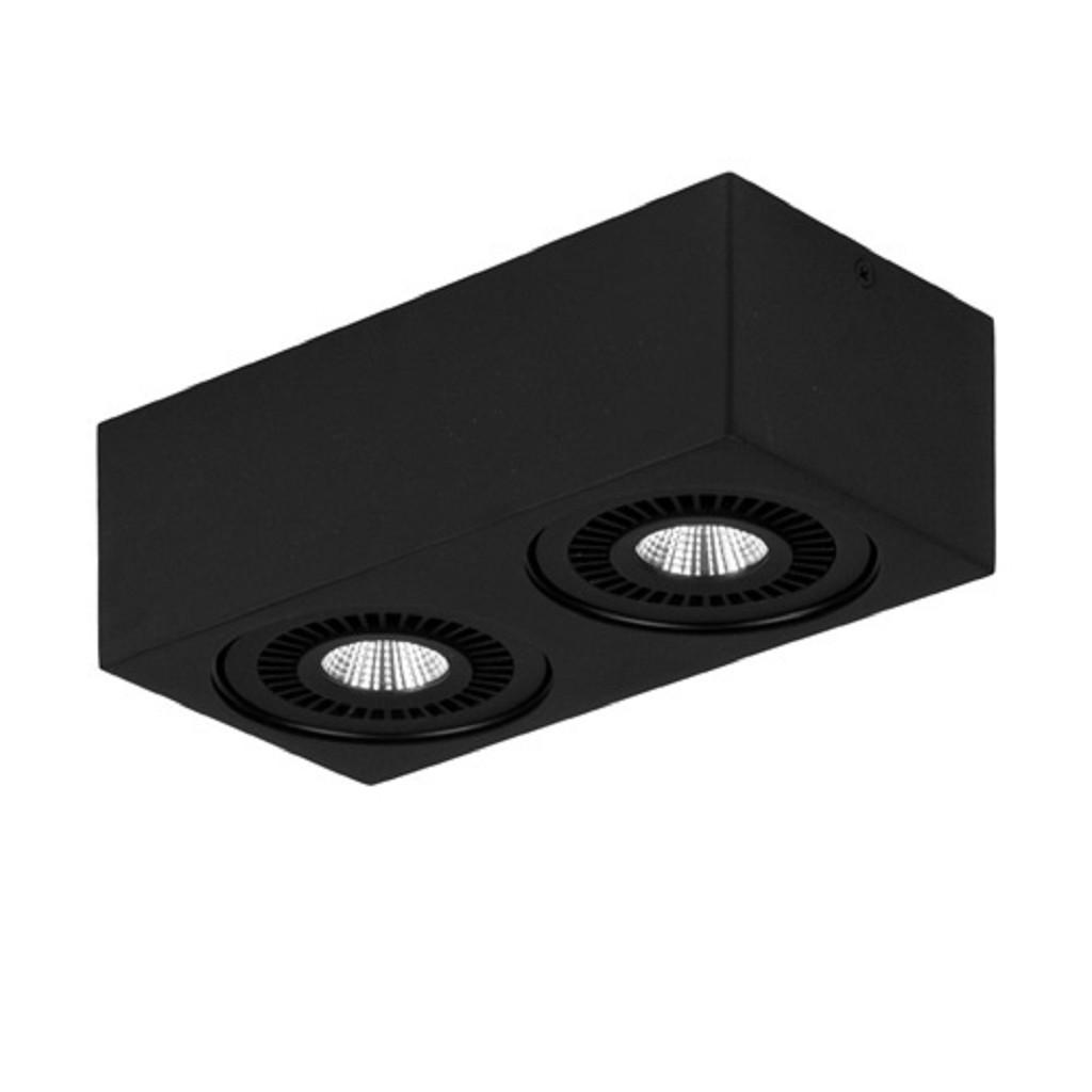 Opbouwspot box zwart 2-lichts led