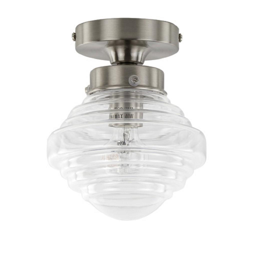 Kleine stalen plafondlamp glas helder