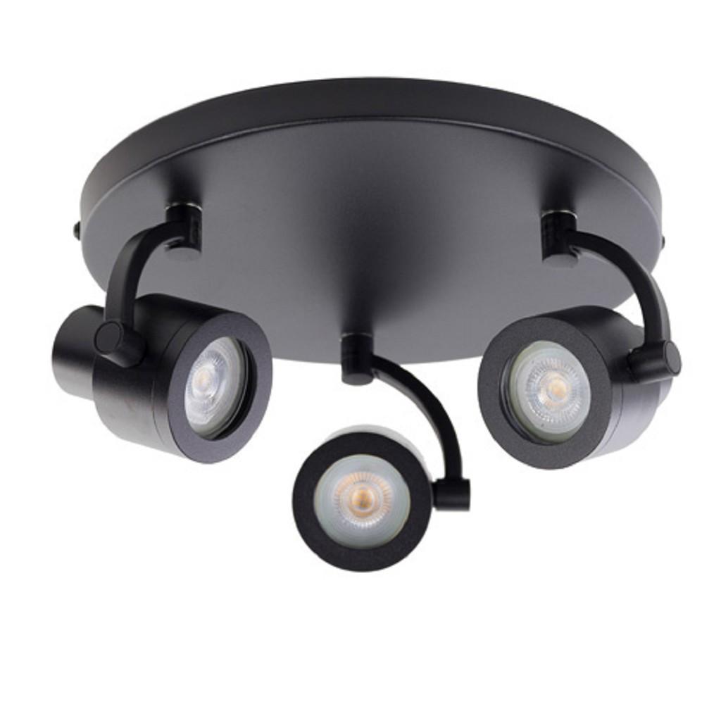 Verstelbare opbouwspot zwart 3-lichts