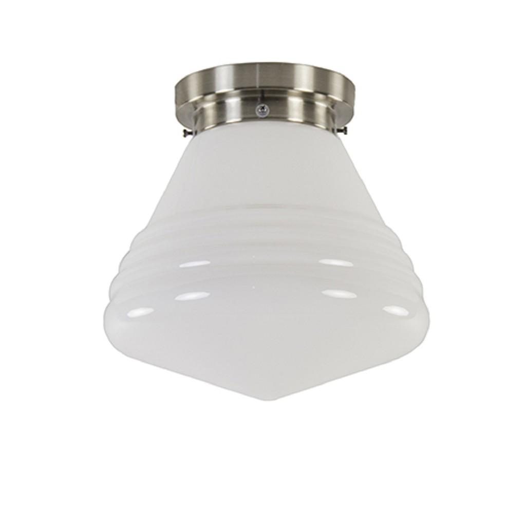 Art Deco plafondlamp staal met wit gl.