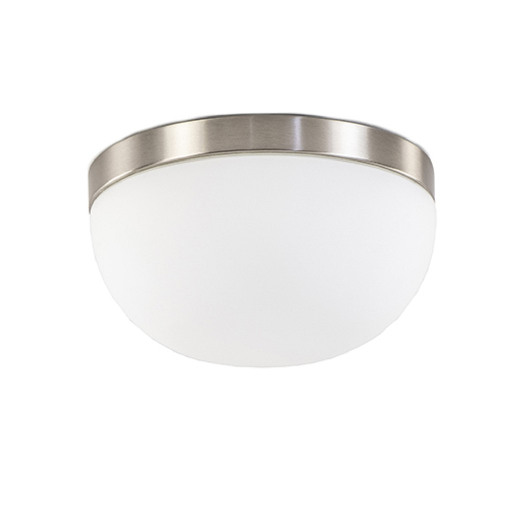 Moderne plafonnière nikkel/wit glas IP44