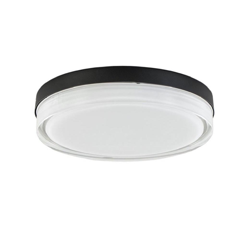 Badkamer plafondlamp zwart met opaal glas