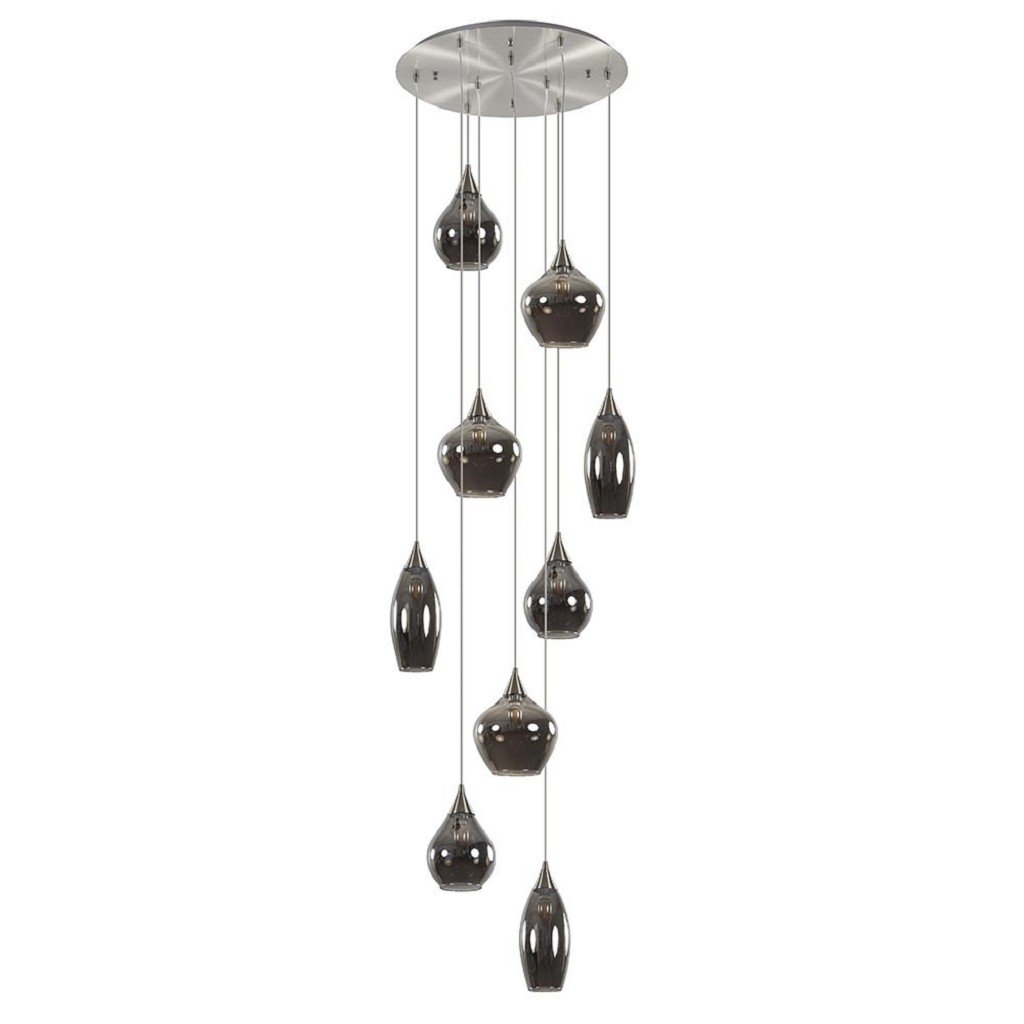 9-Lichts vide hanglamp nikkel met smokey glas
