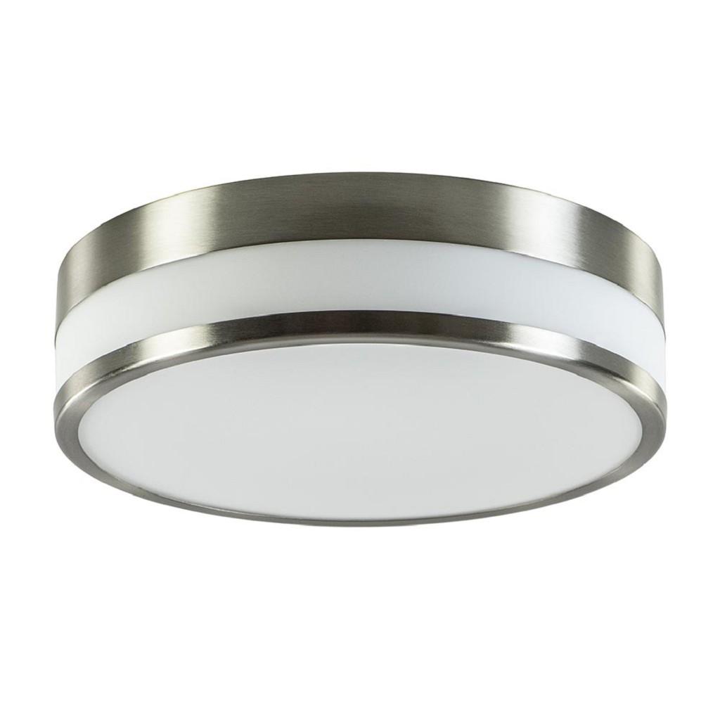 Nikkel plafondlamp met opaal glas rond IP44