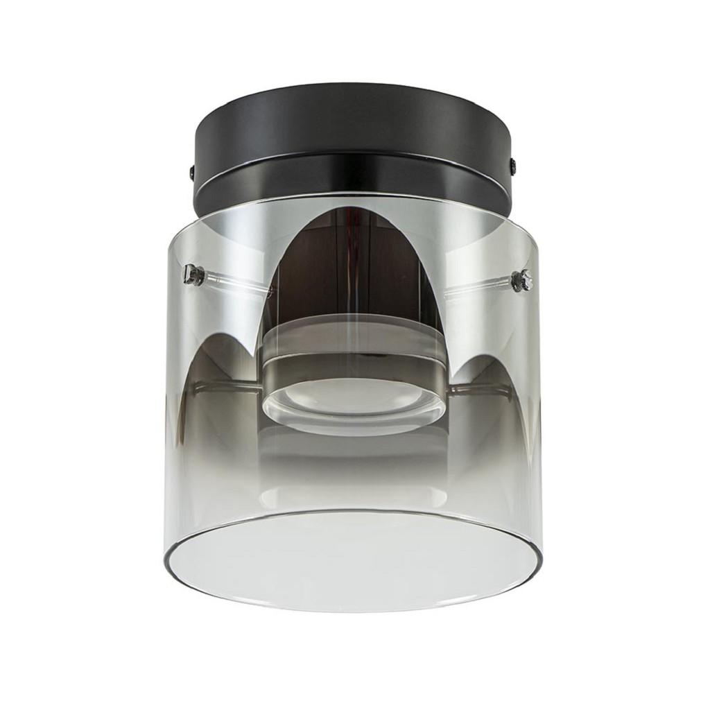Elegante LED plafondlamp zwart met smoke/helder glas