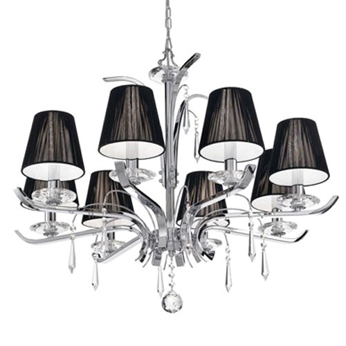 Hanglamp kroon chroom, zwarte kapjes