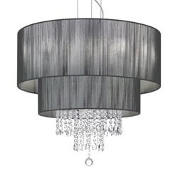 Luxe zwarte kroon/hanglamp zwart kristal