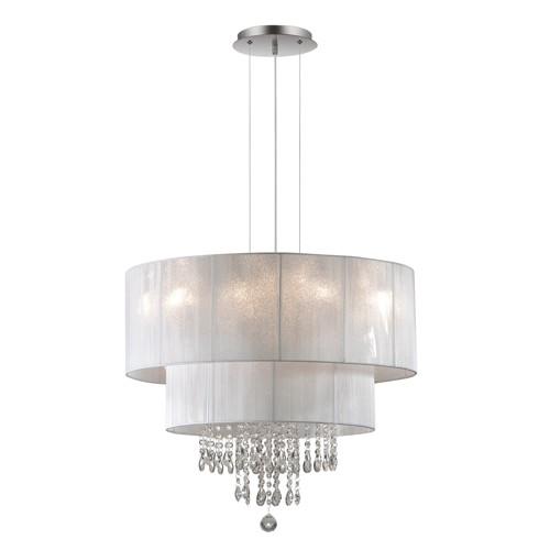 Chique hanglamp kristal wit draadkap