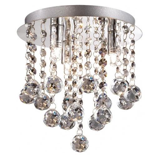 Plafondlamp kristal bollen + chroom 22cm