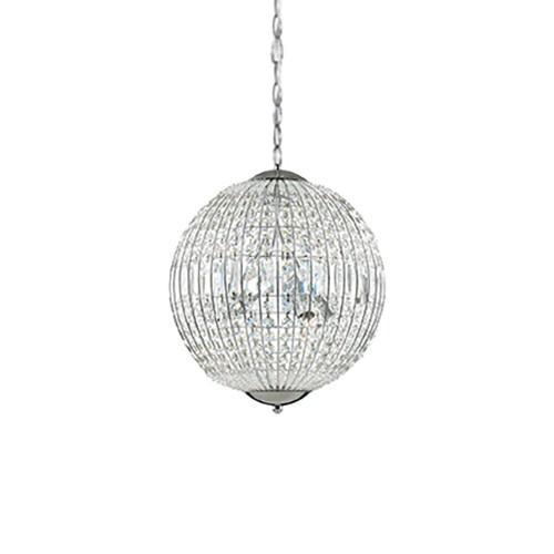 Ronde hanglamp kristal met chroom
