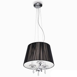 *Hanglamp kroon met zwarte kap/kristal