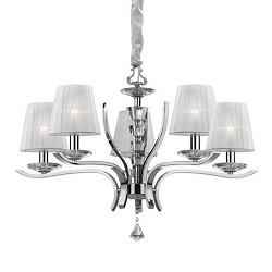 Hanglamp chroom met witte kapjes
