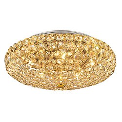 Chique plafondlamp kristal goud gang
