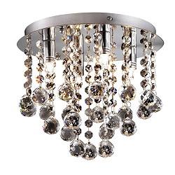Plafondlamp kristal bollen + chroom 26cm