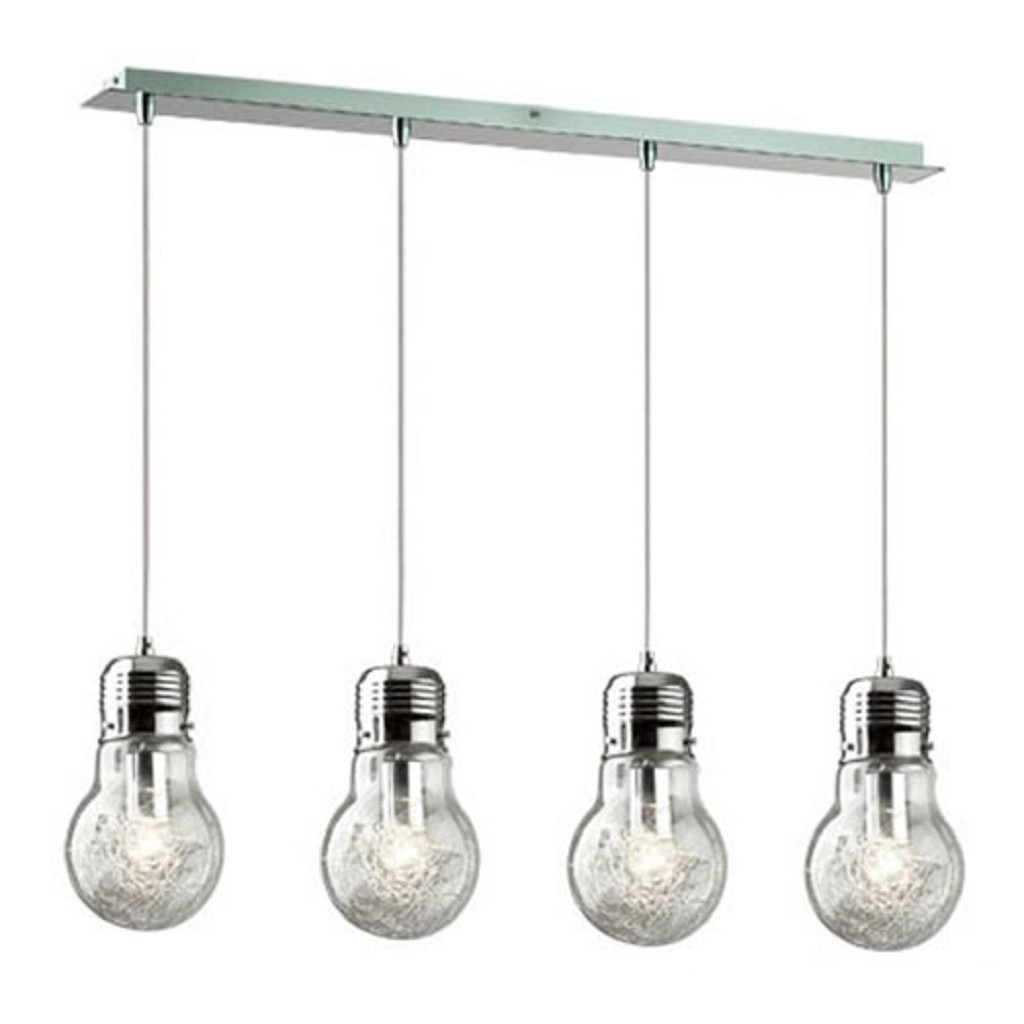 Hanglamp Gloeilamp 4 lichts eettafel