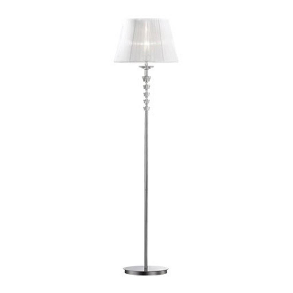 Romantische vloerlamp chroom/kristal