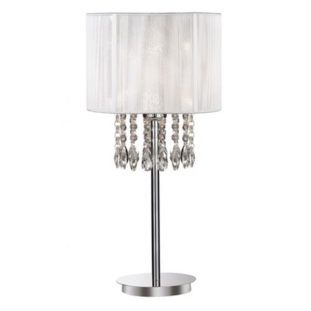 Tafellamp kristal wit draadkap Chique