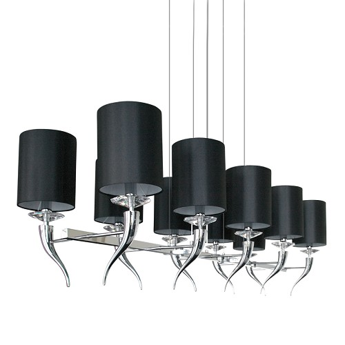 Hanglamp hoorn kristal zwarte kapjes