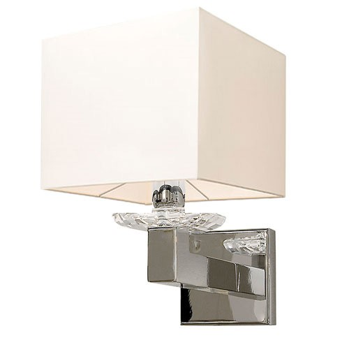 Wandlamp kristal, chroom en witte kap